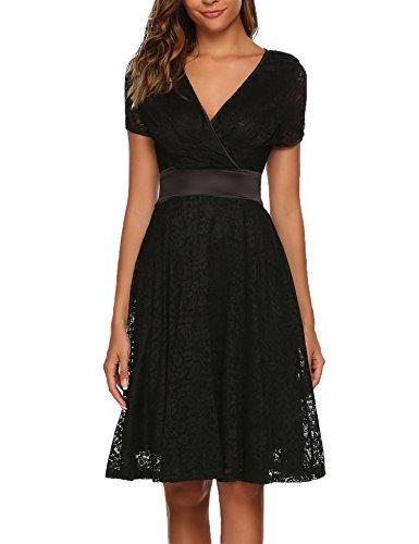 Schwarzes Kleid mit V Ausschnitt